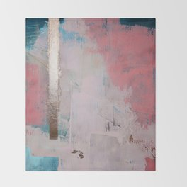 Morning Light: a minimal abstract mixed-media piece in pink gold and blue by Alyssa Hamilton Art Throw Blanket