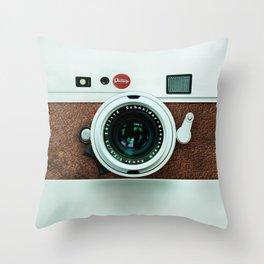 Retro vintage leather camera Throw Pillow