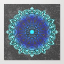 Blues Watercolor Mandala Canvas Print