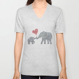 Elephant Hugs with Heart in Muted Gray and Red Unisex V-Neck