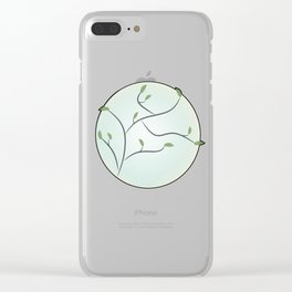 Full Moon with Leaves (Red) Clear iPhone Case