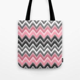 Modern blush pink black geometrical ikat chevron Tote Bag