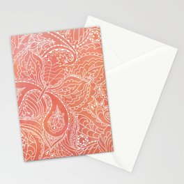 Lacey Pattern on Coral Stationery Cards