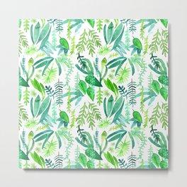 Tropical Leaves Watercolor Pattern Metal Print