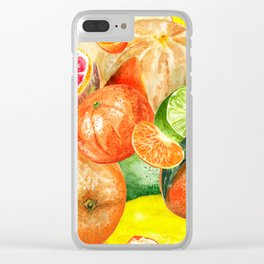 Pattern with citruses Clear iPhone Case