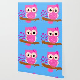 Pink Owl On A Branch | 8 Bit Pixel Art Wallpaper