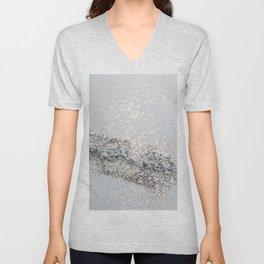 Silver Gray Glitter #2 #shiny #decor #art #society6 Unisex V-Neck