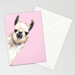 Sneaky Llama in Pink Stationery Cards