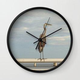 Crane on Railing Wall Clock
