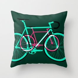 Fixed Gear Road Bikes – Green and Pink Throw Pillow