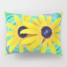 Yellow Rudbeckia Flowers on a Turquoise Garden Swirl Pillow Sham