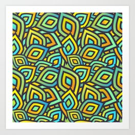 Abstract Coorful Mix Pattern. Green, Blue and Orange Shapes Art Print