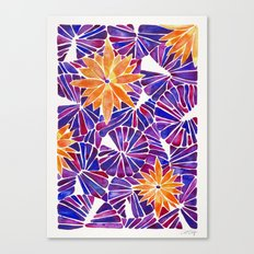 Water Lilies – Purple & Orange Palette Canvas Print