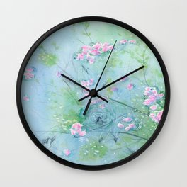 Floating Cherry Blossom - Art Watercolor Painting print by Suisai Genki Wall Clock