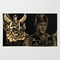 heavy metal Area & Throw Rugs featuring Heavy Metal Daryl by Tracey Gurney