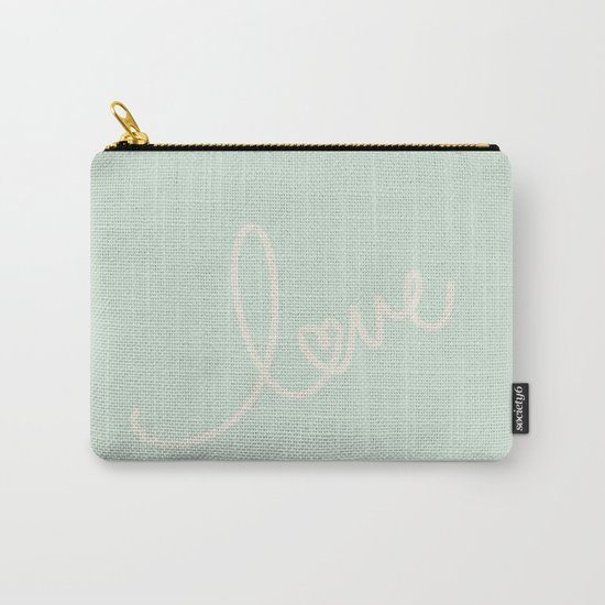 LOVE - Typography on mint green background Carry-All Pouch