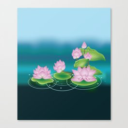 Lotus Flower with Leaves Canvas Print
