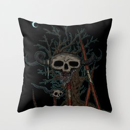 skull on a pike Throw Pillow