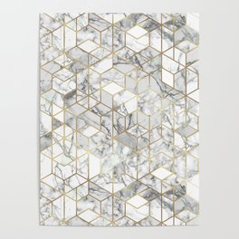 White marble geomeric pattern in gold frame Poster