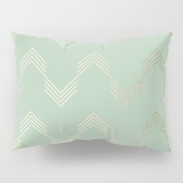 Simply Deconstructed Chevron in White Gold Sands and Pastel Cactus Green Pillow Sham