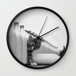 You Did Not See That! - Kittens knocking over Glass Bottles of Milk black and white photograph / photography Wall Clock
