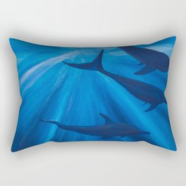 Dolphins in deep Rectangular Pillow