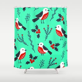 Christmas Holidays Bird Pattern With Holly Sprigs Shower Curtain