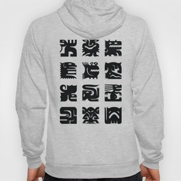 Black and white square monsters Hoody