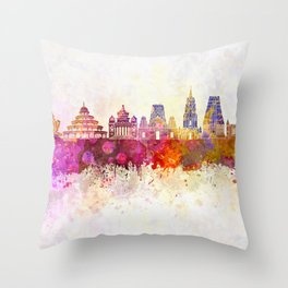 Bangalore skyline in watercolor background Throw Pillow