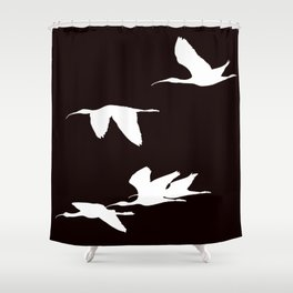 White Silhouette of Glossy Ibises In Flight Shower Curtain