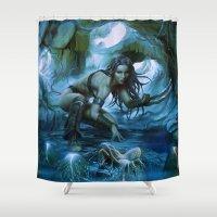 predator Shower Curtains featuring Predator by va-sily