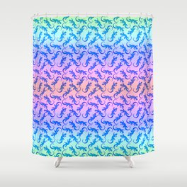 Beautiful delicate blue artistic crawling little lizards. Reptile lover. Gift ideas for animal lover Shower Curtain