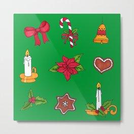 Christmas pattern (#2 green) Metal Print