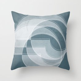 Spacial Orbiting Spiral in Teal Throw Pillow
