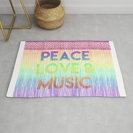 """Quote """"Peace, love and music""""on rainbow background Rug"""