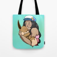 eevee Tote Bags featuring Trainer And Eevee by Little Kitty