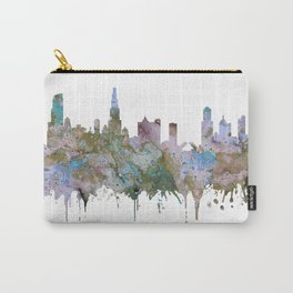 Chicago Skyline Pastel Khaki Purple Teal Watercolor Chicago Art USA Decor Art Travel Carry-All Pouch