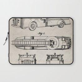 Fire Truck Patent - Aerial Fireman Truck Art - Antique Laptop Sleeve