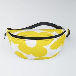 2e28833c9d71 Large Yellow Retro Flowers on White Background #decor #society6 #buyart Fanny  Pack