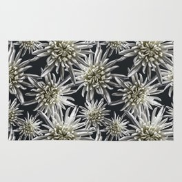 Mum Floral Pattern - Mum's the word - Black and White Floral Design - White Mum Flowers - I Love my Rug