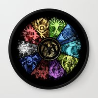 magic the gathering Wall Clocks featuring Magic the Gathering - Faded Guild Wheel by omgitsmagic
