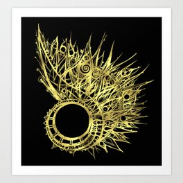 GOLDEN CURL - SHINING PAINTING ON BLACK BACKGROUND Art Print