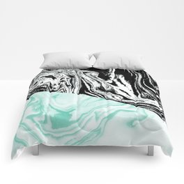 Spilled ink marble black and white mint trendy suminagashi japanese paper marbling Comforters