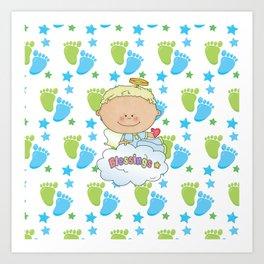 Baby Feet Angel Blessing Art Print