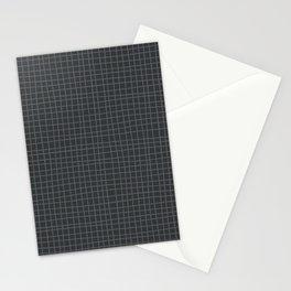 Dark Gray Grid Stationery Cards