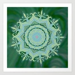 Green Swirl Mandala Art Print
