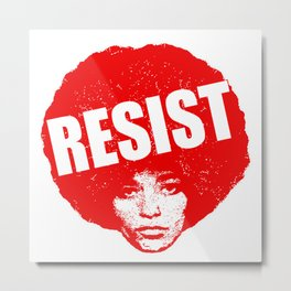 Angela Davis - Resist (red version) Metal Print