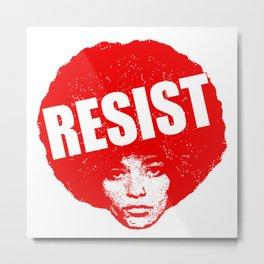 Angela Davis - Resist (red version) Metal Print