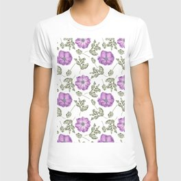 Lavender pastel green hand painted floral leaves pattern T-shirt