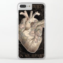adventure heart-world map Clear iPhone Case